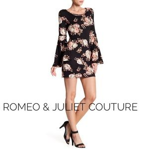 Black Floral Bell Sleeve Mini Dress